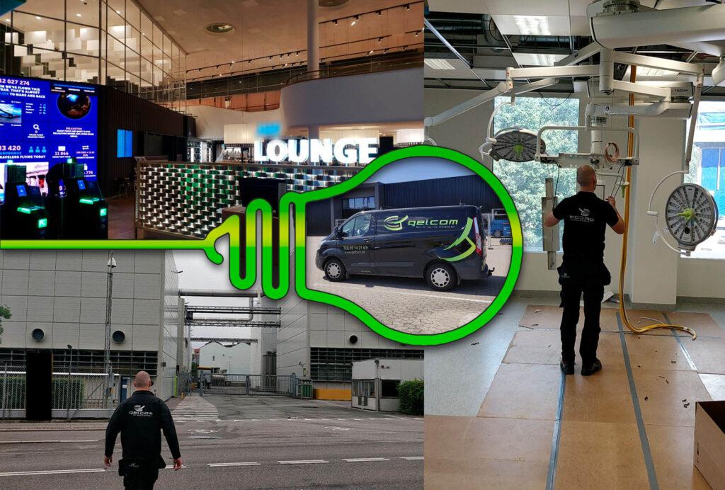 Billede af forskellige jobs Gelcom har været ude til, med et billede af deres bil i midten.